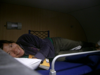 lani in sleeper car bunk