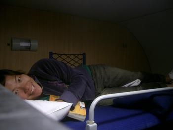 lani in sleeper car bunk