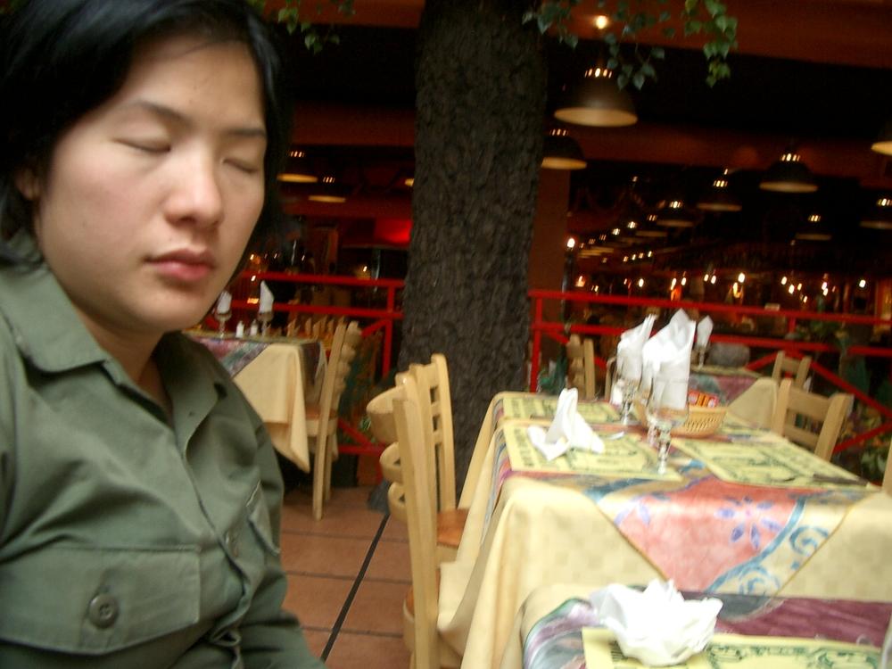 Buenos Aires 2005 - lani sleeping in restaurant