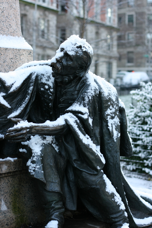 statue with snow