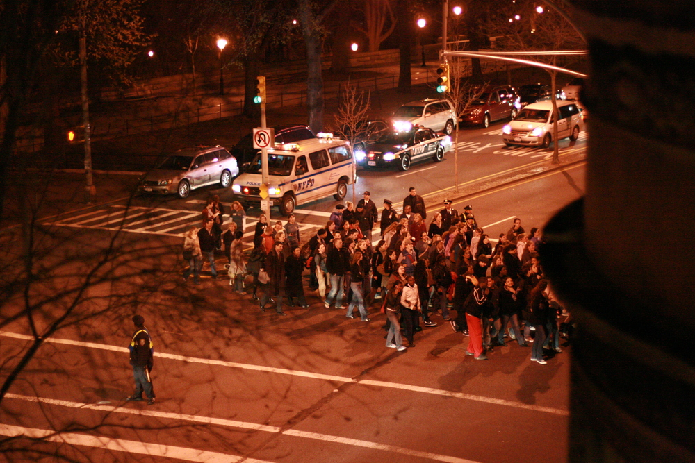 take back the night march in nyc (view from my window)